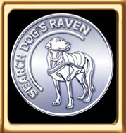 Memory Coin Card Animated Logo of an embossed white metal Ebbey the search dog